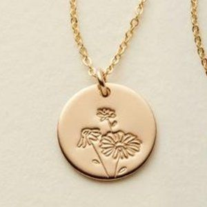 NEW April Daisy Birth Flower Gold Coin Necklace